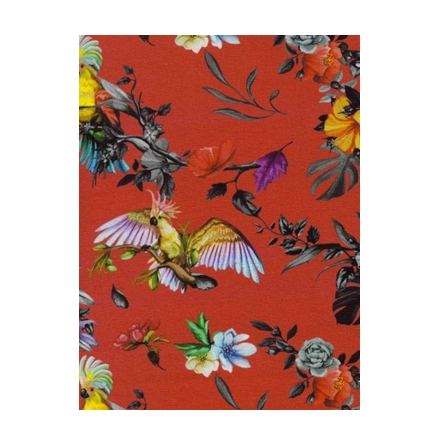 Jersey  Digitalprint med blommor och papegojer